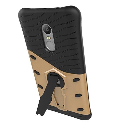 Resistente a los golpes 360 grados de fricción francotirador caso híbrido TPU + PC combinación de la caja con el titular de Xiaomi Redmi Nota 4 / 4X by diebelleu ( Color : Gold ) Gold