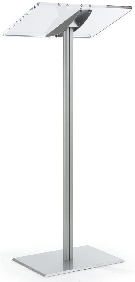 Displays2go Floor Standing Speaking Podium, Slanted Top, Quick Assembly, Silver (CLRLECBNDS) by Displays2go