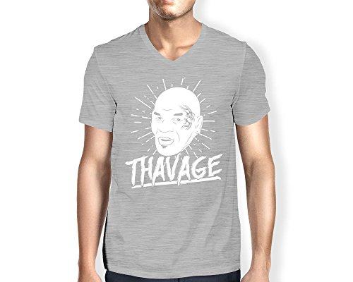 Men's Thavage V-Neck T-shirt (Light Gray, Small)