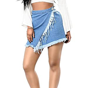 Blostirno Women's Casual Distressed Ripped High Waist Denim Skirt