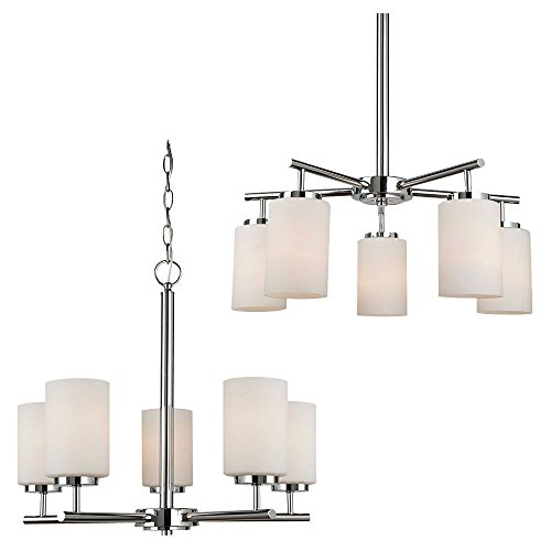 161-05 Oslo Five-Light Chandelier with Cased Opal Etched Glass Shades, Chrome Finish (Oslo Chandelier 5 Light)