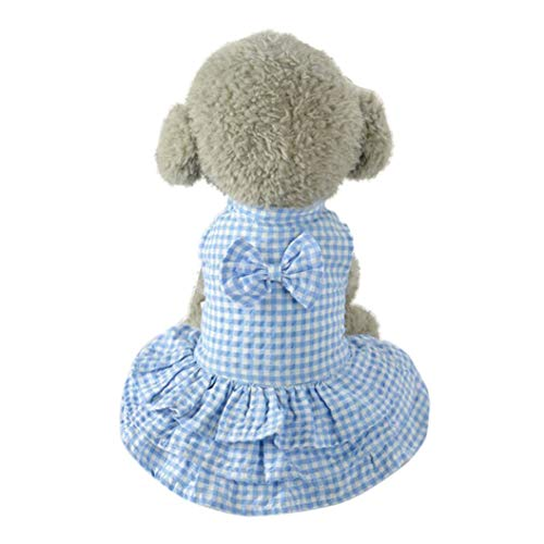 LVYING Pet Dog Clothes Spring Summer Versatile Stretchy Cute Sweet Puppy Apparel Bowtie Short Skirt Dress Plaid