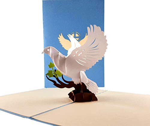 iGifts And Cards Inspirational White Dove with Olive Branch 3D Pop Up Greeting Card - Peace, Religious, Faith, Christian, Half Fold, Priest Ordination, Wedding, Confirmation, First Communion, - Card Communion First