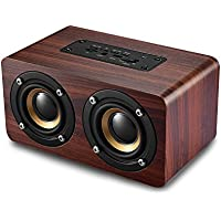 Bluetooth Speaker with Super Bass, Loud Bamboo Wood Home Audio Wireless Design Speakers with Subwoofer For Travel, Home, Beach, Kitchen, Outdoors (Enhanced Edition)