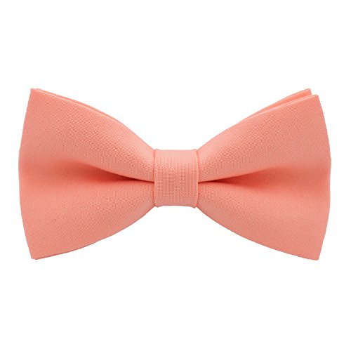 Classic Pre-Tied Bow Tie Formal Solid Tuxedo, by Bow Tie House (Small, Bright Peach)