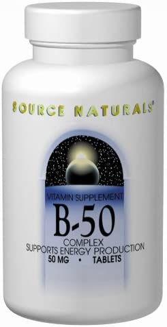 Source Naturals Vitamin B-50 Complex 50mg Supplement – Contains Essential B Vitamins, Biotin, Inositol More – 250 Tablets
