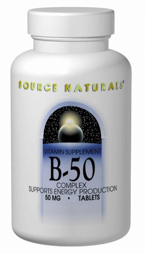 Stress B-complex 50 Tab - Source Naturals Vitamin B-50 Complex 50mg Supplement - Contains Essential B Vitamins, Biotin, Inositol & More - 50 Tablets