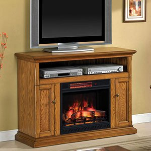 Cannes Infrared Electric Fireplace Media Console - 23MM378-O103 Premium Oak Electric Fireplace