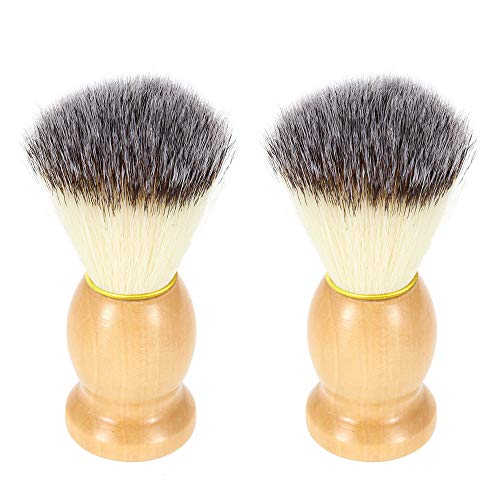 Nylon Shaving Brushes,DaKuan 2 Packs Wooden Handle Shaving Brushes,Luxury Professional Hair Salon Tool for Men