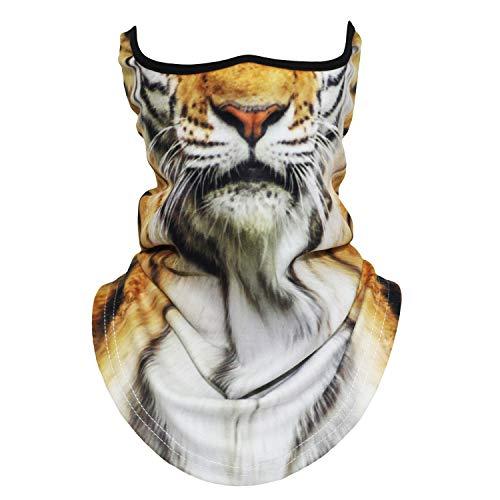Tiger Print Hat - 3D Animal Half Face Mask Neck Motorcycle Cycling Neck Gaiter Ski Halloween Cosplay(40)