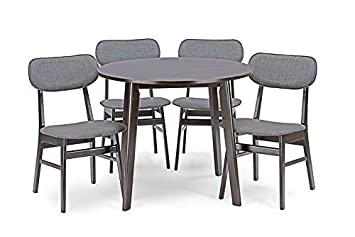 Baxton Studio 5 Piece Debbie Mid-Century Dining Set, Dark Brown