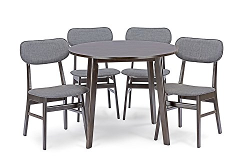 Baxton Studio 5 Piece Debbie Mid-Century Dining Set, Dark Brown - Mid-Century design 5-piece dining set includes: 1 dining table; 4 dining chairs Solid rubber wood in dark walnut finishing Grey fabric with foam padding - kitchen-dining-room-furniture, kitchen-dining-room, dining-sets - 41wm0iv VsL -