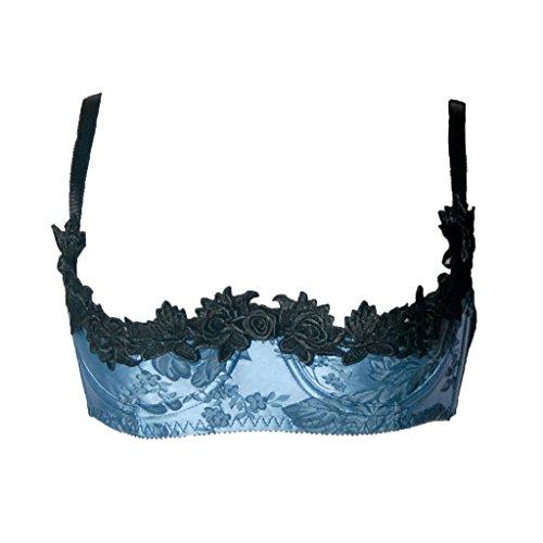 LoveFifi Women's Le Jardin Demi Bra - M/34 - Blue/Black