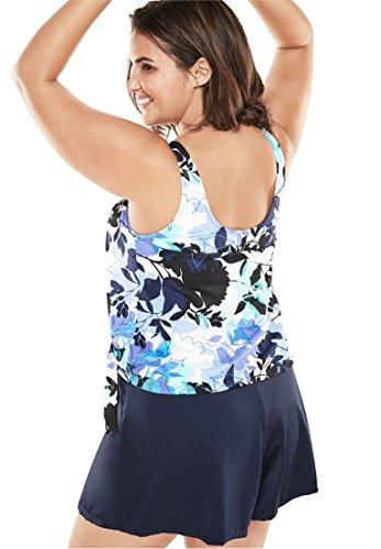 Swim 365 Women's Plus Size 2-Piece Blouson Swim Set Blue Floral,20