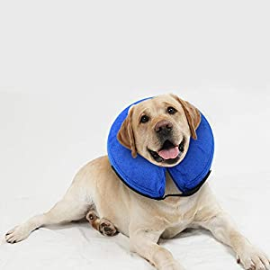 E-KOMG Dog Cone After Surgery, Protective Inflatable Collar, Blow Up Dog Collar, Pet Recovery Collar for Dogs and Cats Soft (L) 79