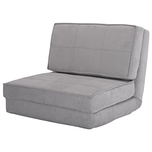Giantex Fold Down Chair Flip Out Lounger Convertible Sleeper Bed Couch Game Dorm Guest (Gray)