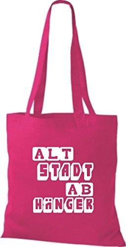 shirtstown Borsa di stoffa divertenti DETTO centro storico studente VARI COLORI - rosa, 42 cm x 38 cm