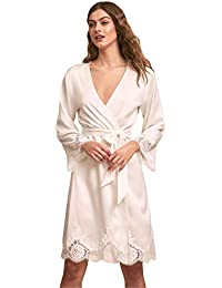 ce0b1bc7a7 Womens Satin Lace Edge Robes Bridal Wedding Party Loungewear Nightgown Long  Bathrobe Pajamas Sleepwear with Belt
