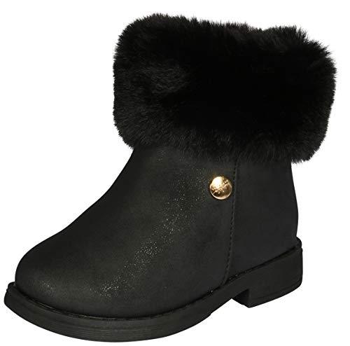 Nicole Miller New York Toddler Girls Faux Fur Trim Ankle Boot, Black, 6 M US Toddler' ()