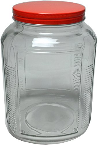 Circleware 06560 Cracker Jar with Red Lid Home and Kitchen Utensils, 1 gallon, Circleware