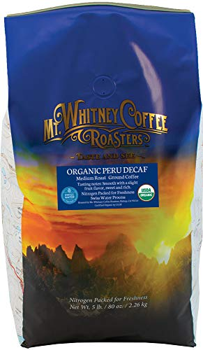 Mt. Whitney Coffee Roasters Organic Peru Swiss Water Process Decaf (Ground), 5lb