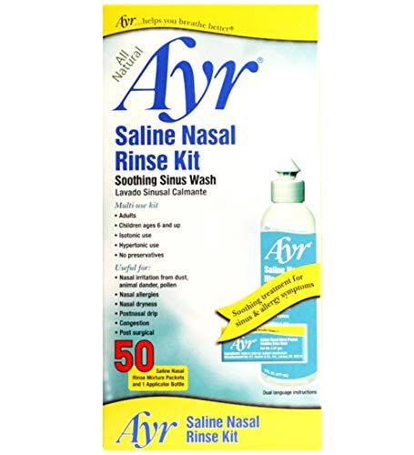 Ayr Saline Nasal Rinse Kit Soothing Sinus Wash,  50 Count Saline Nasal Rinse Mixture Packets Plus Applicator - Hypertonic Nasal Mist Saline