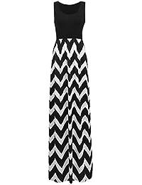 Women Boho Chevron Striped Print Summer Sleeveless Tank...