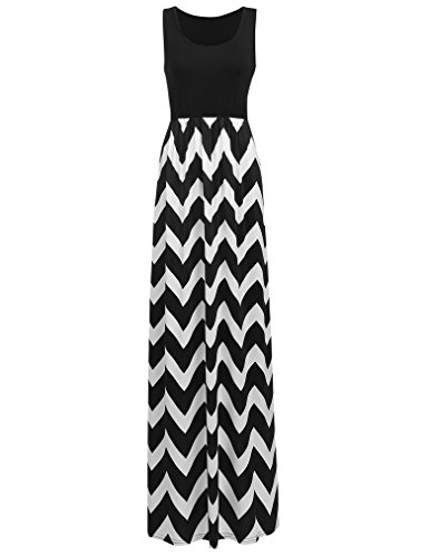 Sherosa Women Sleeveless Print Summer Beach Dress Casual Maxi Long Dresses (L, Black White)