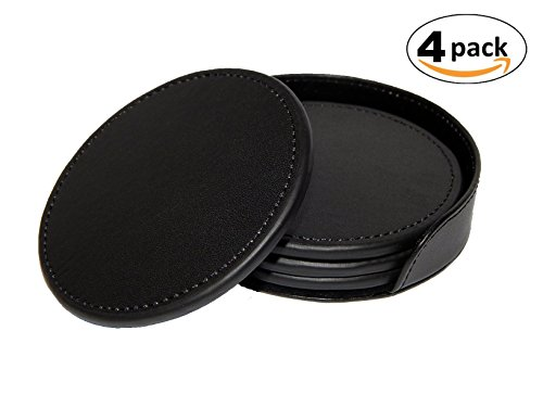Coasters With Holder, Set Of 4, Simple Black Leather Coasters, PU Vegan Leather, Mug Holder, For Cups, Beer Mugs, Coasters for drinks, Protect Your Wooden Furniture (Set of 4, (Queen Anne Style Tv Stand)