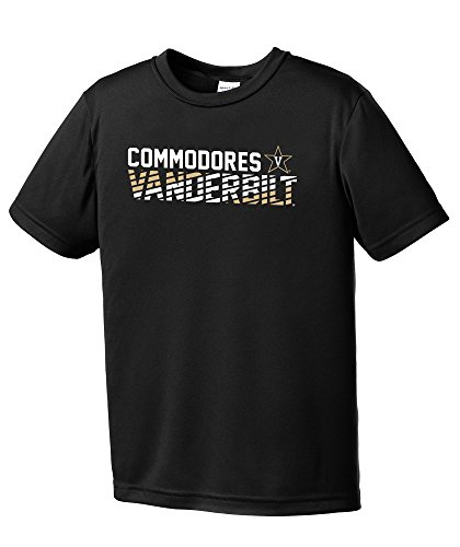 NCAA Vanderbilt Commodores Youth Boys Diagonal Short sleeve Polyester Competitor T-Shirt, Youth Small,Black