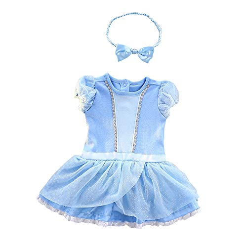 Infant Angel Halloween Costumes (Lito Angels Baby Girls Princess Cinderella Costume Onesie Romper Bodysuit Halloween Dress Up Size 9-12)