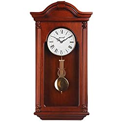 HENSE Chiming Wall Clock with Swinging Pendulum and Catalpa Finish - 16 Inches Tall HP732