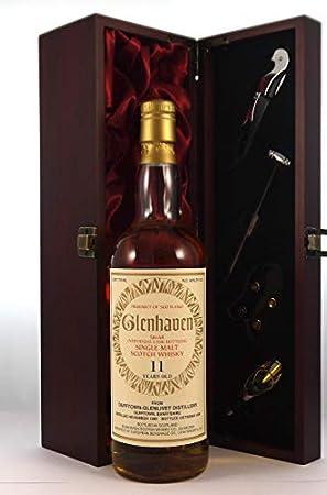 Dufftown Glenlivet 11 year Old Single Malt Scotch Whisky 1982 Glenhaven Bottling en una caja de regalo forrada de seda con cuatro accesorios de vino, 1 x 700ml