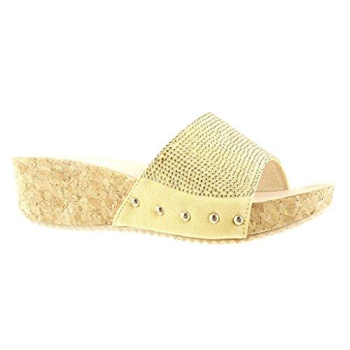 Mode Talon Diamant Clouté Cm Sandale Femme Chaussure Strass Compensé Liège Jaune 5 Plateforme Angkorly Mule vq085R