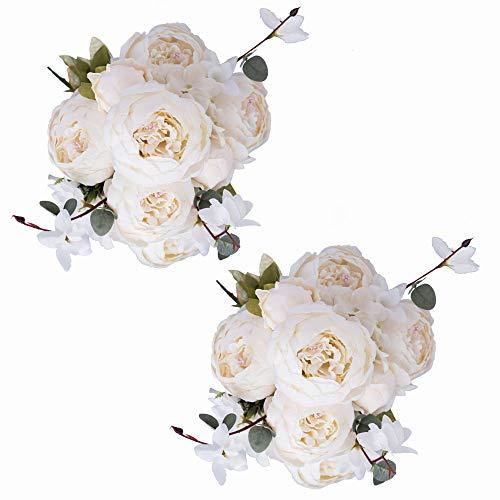 Fule 2 Pack Large Artificial Peony Silk Flower Bouquets Arrangement Wedding Centerpieces (Cream White)