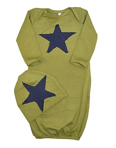 Unique Baby Boys Star Design Gown and Matching Cap 6 Months Green by Unique Baby
