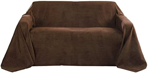 Beautissu Manta Romantica 210x280 cm en óptica de piel de ante como cobertor de sofá manta de día Plaid en marrón oscuro
