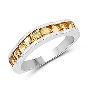 Johareez 1.68 cts Citrine .925 Sterling Silver Rhodium Plated Ring for Women