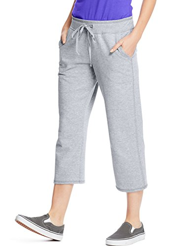 Hanes Premium Womens French Terry Capri with pockets, Grey, - Capri Terry French