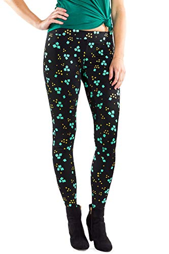 (Women's Glitter Clover Cluster St. Patrick's Day Leggings - St. Paddy's Tights for)