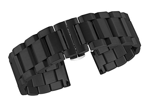 Men's Watch Bracelet Replacement Black Inox Steel Watch Bands Invisible Double Locking Clasp ()