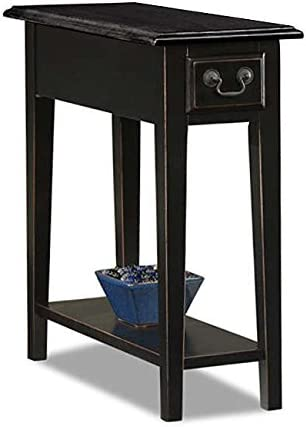 ModHaus Living Country Style Narrow Nightstand Rectangle Wooden Black Chair Side Table