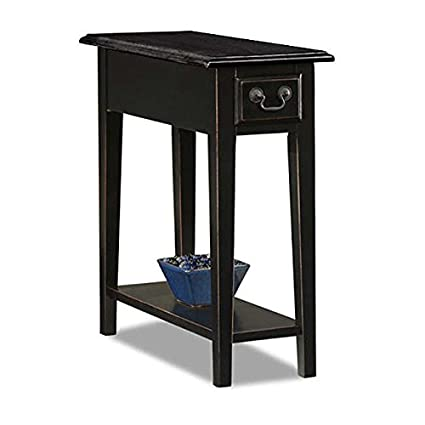 Beau Country Style Narrow Nightstand Rectangle Wooden Black Chair Side Table  With Storage Drawer   Includes Modhaus