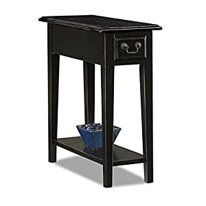 Country Style Narrow Nightstand Rectangle Wooden Black Chair Side