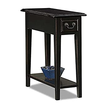 Country Style Narrow Nightstand Rectangle Wooden Black Chair Side Table  with Storage Drawer - Includes Modhaus