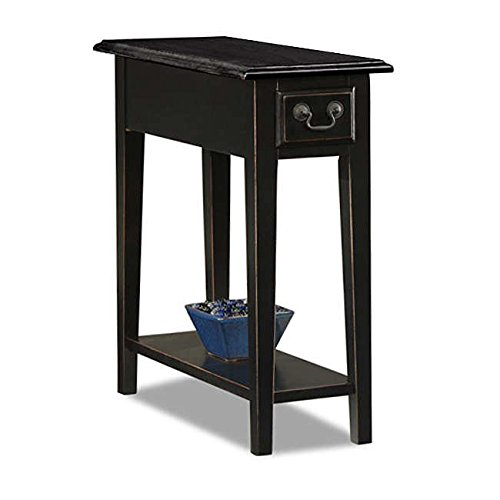 Country Style Narrow Nightstand Rectangle Wooden Black Chair Side Table with Storage Drawer - Includes Modhaus Living Pen