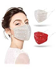 Sparkly Rhinestone Bling Face Mask for Women Crystal Masquerade Masks Halloween for Girls