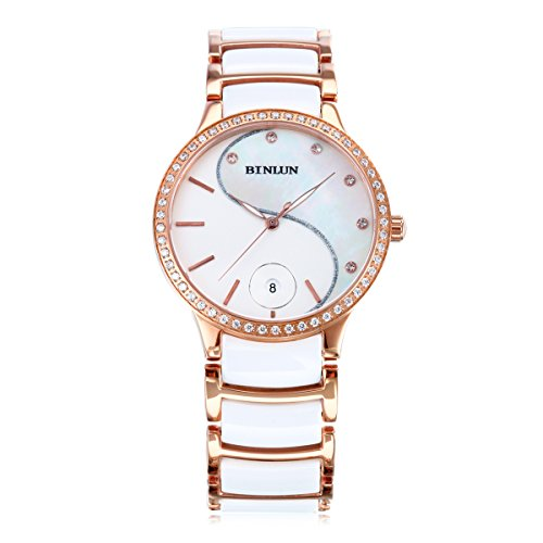 BINLUN Mens Japanese Quartz Two Tone Rose Gold Watch with Date Diamond Bezel White Ceramic (Rose Gold Plated Diamond Watch)