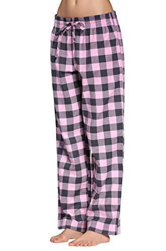 CYZ Women's 100% Cotton Super Soft Flannel Plaid Pajama/Louge Pants-F17004-M