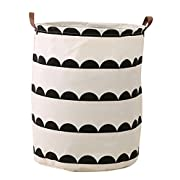 HIYAGON Large Sized Canvas Storage Baskets with Handle,Collapsible & Convenient Home Organizer Containers for Kids Toys,Baby Clothing(semi-Circle)
